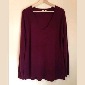 Gap Women's Burgundy V Neck Sweater Sz L